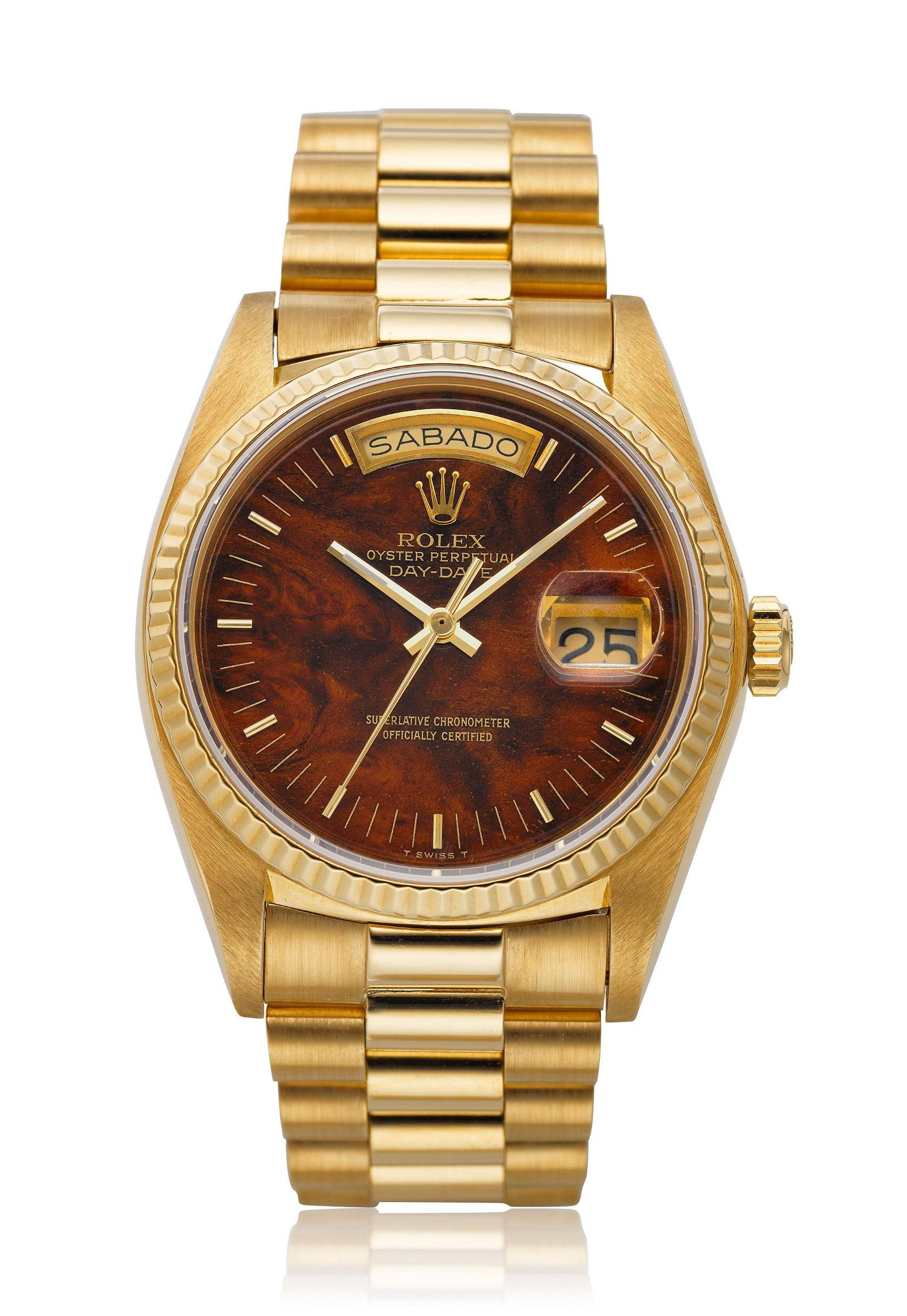 ROLEX, 18K DAY-DATE WITH WOOD DIAL, REF. 18038