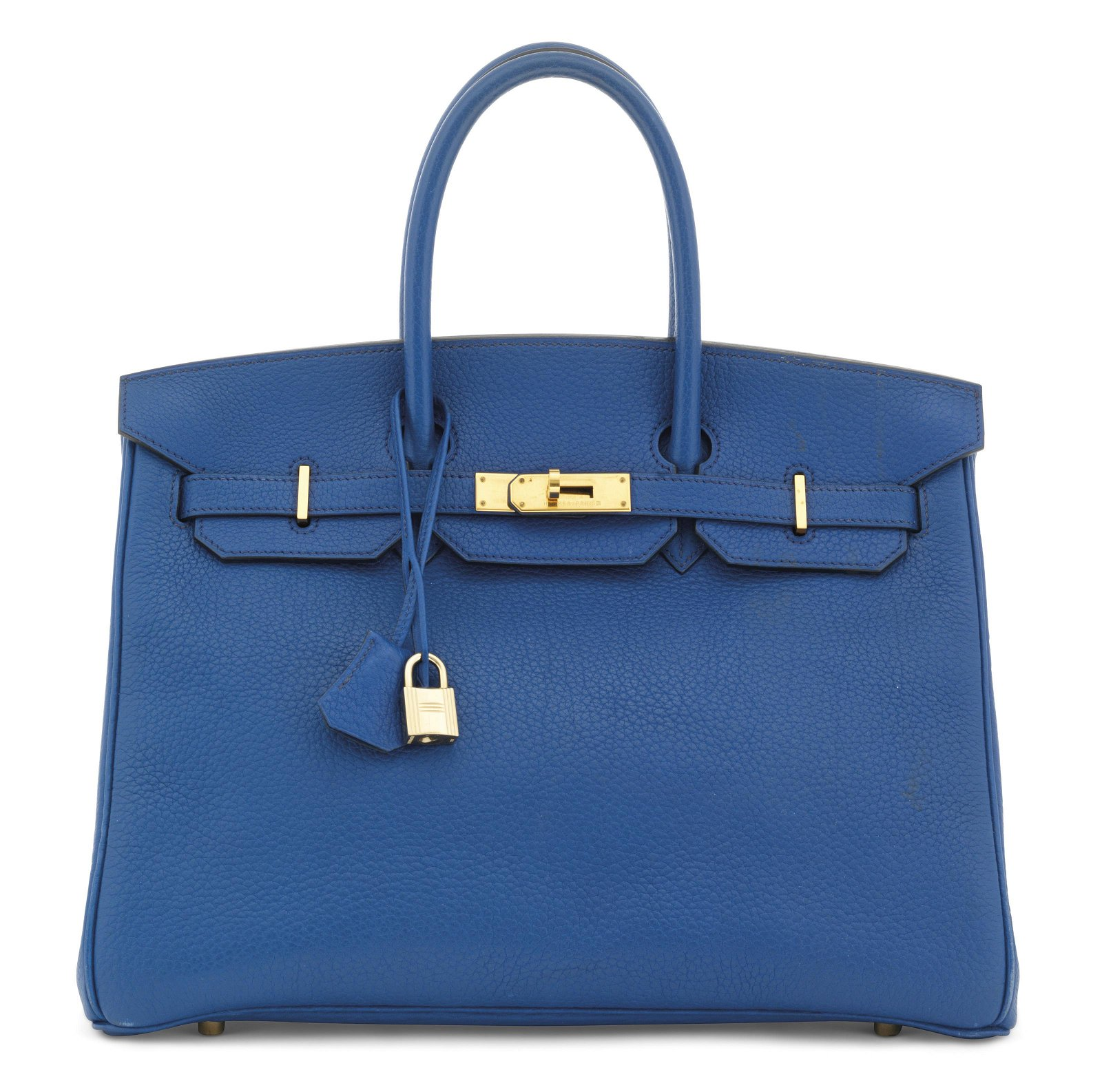 A BLEU DE FRANCE ARDENNES LEATHER BIRKIN 35 WITH GOLD