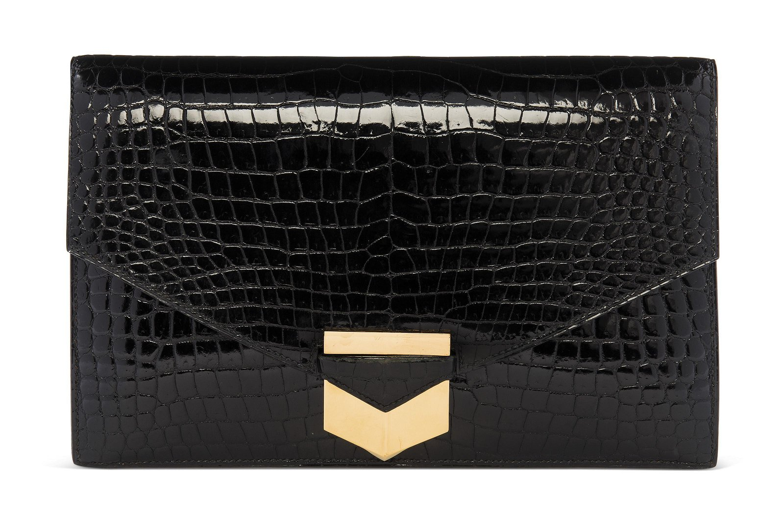 A SHINY BLACK POROSUS CROCODILE PAN CLUTCH WITH GOLD