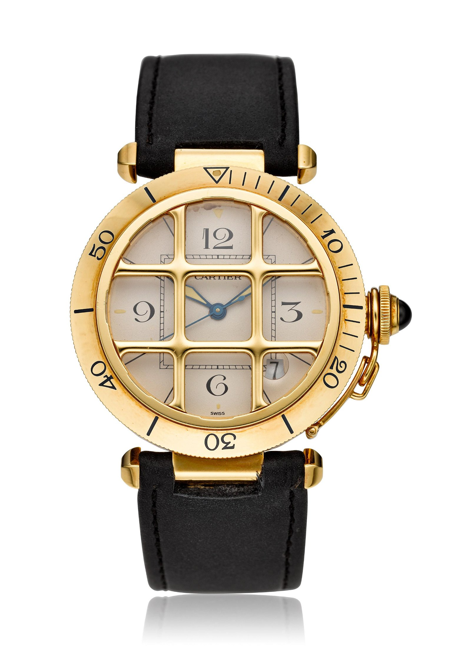 CARTIER, 18K PASHA WITH GRILL, REF. 1021 1
