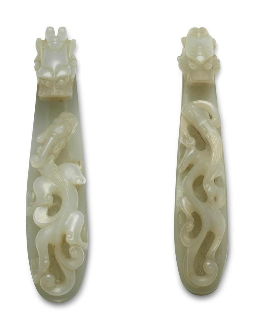 TWO WHITE JADE 'DRAGON' BELT HOOKS