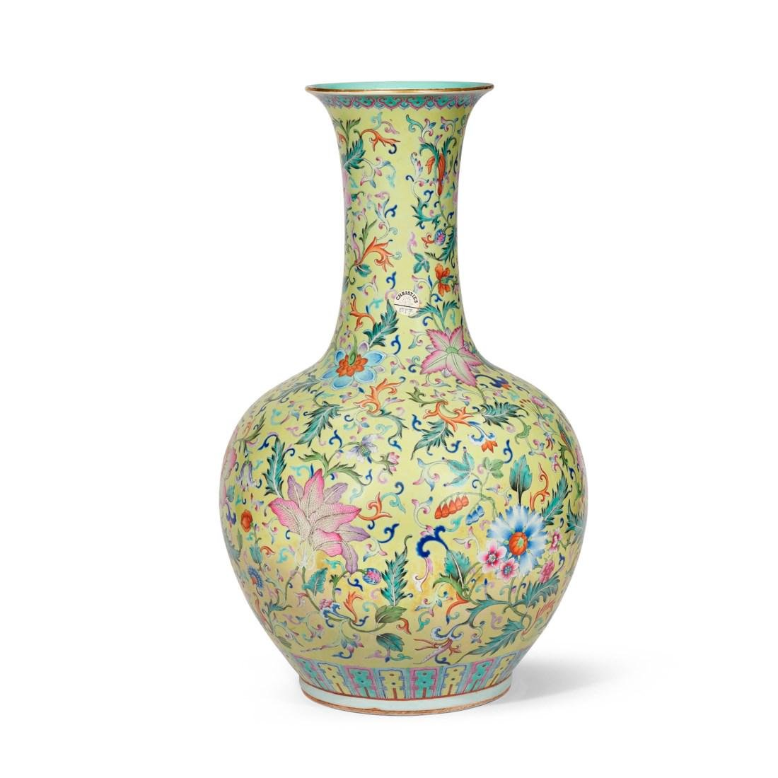 A LARGE FAMILLE ROSE YELLOW-GROUND FLORAL VASE