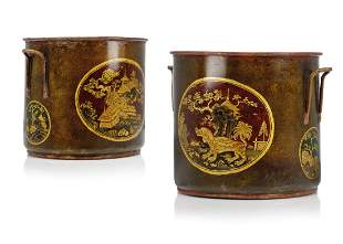 A PAIR OF LOUIS XV LACQUERED TOLE CACHE-POTS