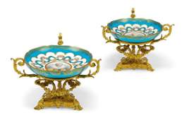 A PAIR OF FRENCH ORMOLU AND SEVRES-STYLE PORCELAIN