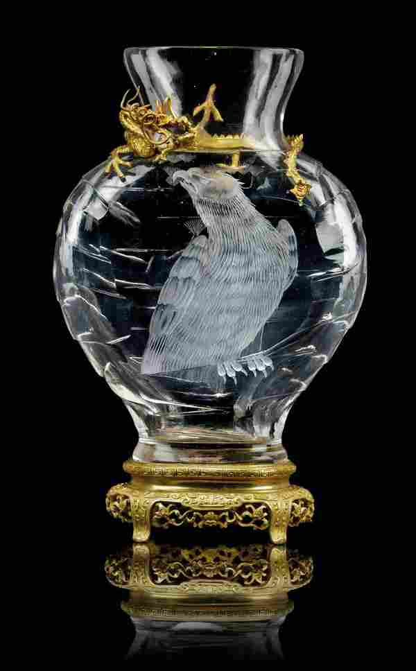 A FRENCH 'JAPONISME' ORMOLU-MOUNTED CUT AND