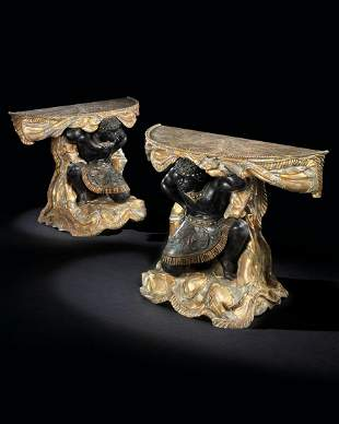 A PAIR OF VENETIAN 'MECCA' AND POLYCHROME-PAINTED