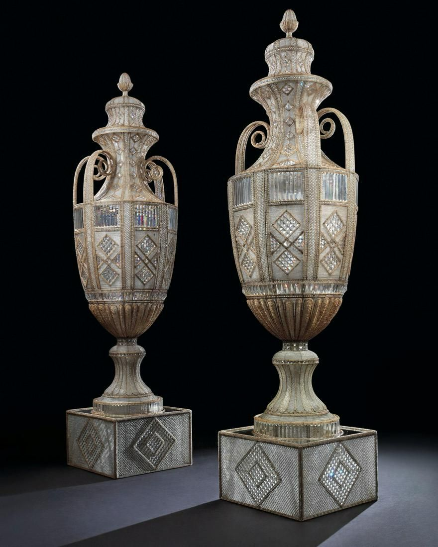 A PAIR OF MONUMENTAL ITALIAN BEADED AND FACETED GLASS