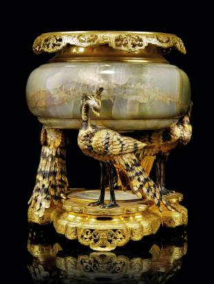 A FRENCH 'JAPONISME' GILT AND PATINATED-BRONZE AND ONYX