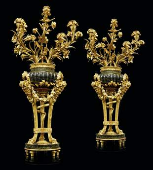 A PAIR OF FRENCH ORMOLU AND GREEN MARBLE FIVE-LIGHT