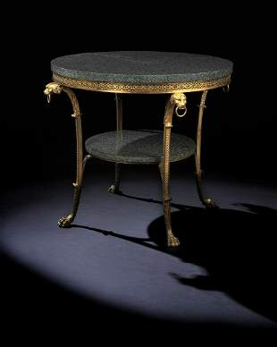 A FRENCH ORMOLU AND MARBLE GUERIDON