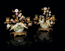 A PAIR OF LOUIS XV ORMOLU-MOUNTED MEISSEN PORCELAIN AND