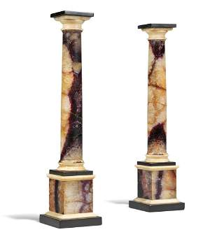 A PAIR OF GEORGE III BLUE JOHN AND ALABASTER COLUMNS