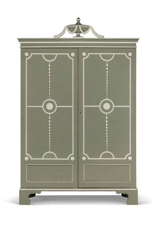 A GEORGE III GREEN AND WHITE PAINTED WARDROBE