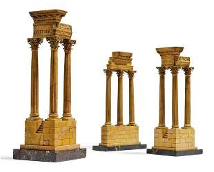 A GROUP OF THREE ITALIAN 'GRAND TOUR' MARBLE MODELS OF