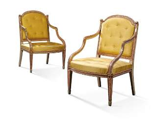 A PAIR OF GEORGE III PARCEL-GILT, CREAM AND