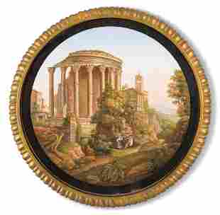 AN ITALIAN MICROMOSAIC PICTURE OF THE TEMPLE OF VESTA,