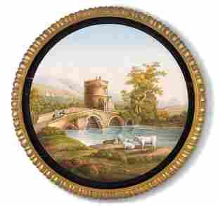 AN ITALIAN MICROMOSAIC PICTURE OF LUCANO BRIDGE