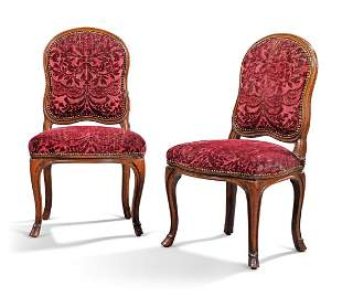 A PAIR OF LOUIS XV BEECHWOOD CHAIRS