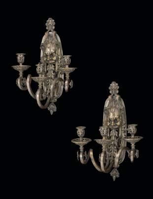 A PAIR OF FRENCH SILVERED BRASS THREE-LIGHT