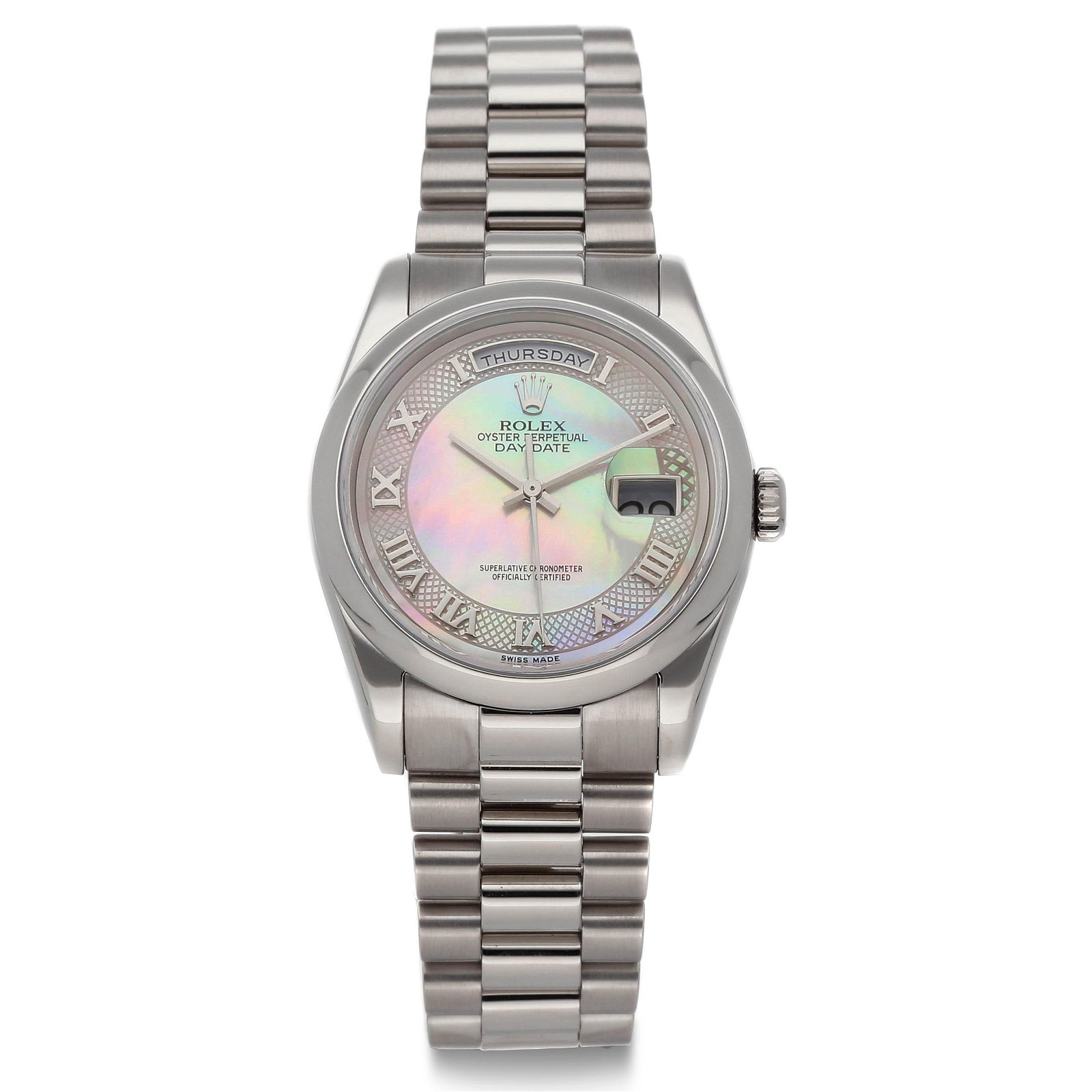 ROLEX, DAY-DATE, 18K WHITE GOLD, MOTHER-OF-PEARL DIAL,