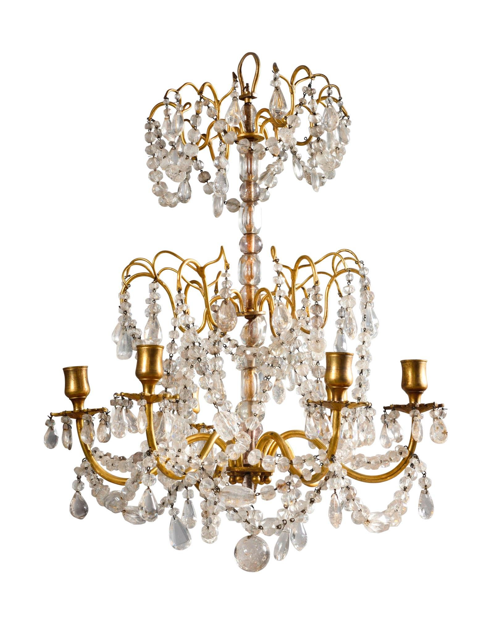 A FRENCH ORMOLU AND ROCK CRYSTAL SIX-LIGHT CHANDELIER