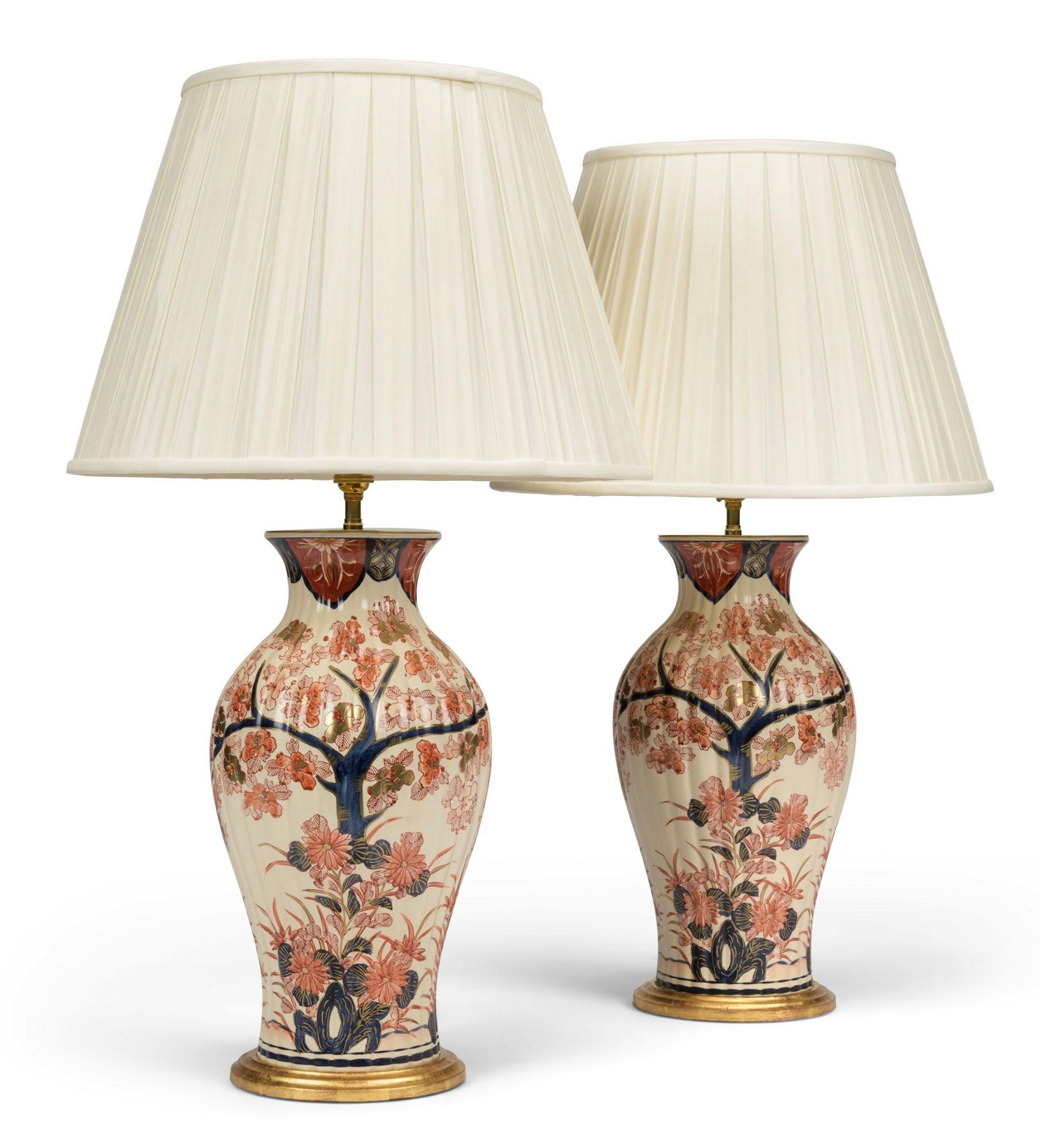 A PAIR OF IMARI-STYLE PORCELAIN VASES, MOUNTED AS LAMPS