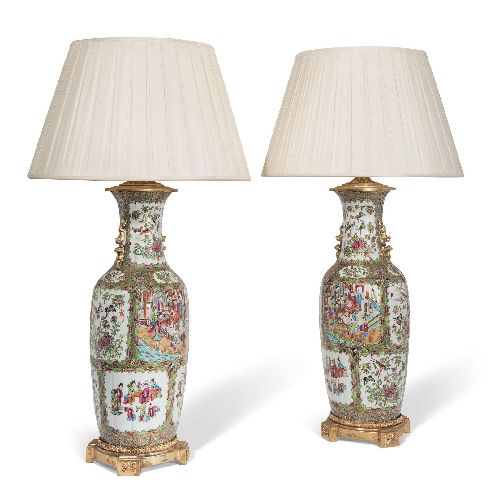 A PAIR OF CHINESE PORCELAIN FAMILLE ROSE VASES, MOUNTED
