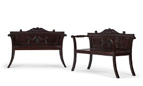 PAIR OF GEORGE III CARVED MAHOGANY HALL BENCHES