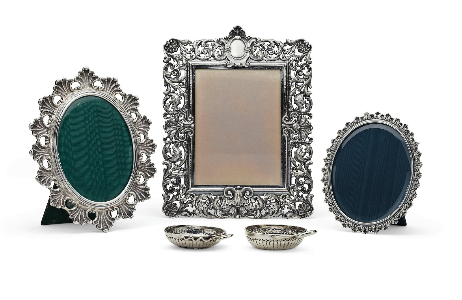 THREE ITALIAN SILVER PHOTO FRAMES AND TWO FRENCH SILVER