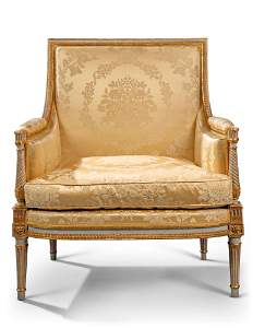 A LOUIS XVI GREY-PAINTED AND PARCEL-GILT MARQUISE