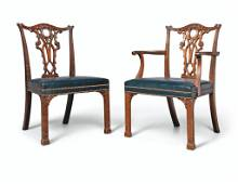 A SET OF FOURTEEN VICTORIAN MAHOGANY DINING-CHAIRS