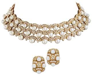 VAN CLEEF & ARPELS CULTURED PEARL AND DIAMOND NECKLACE
