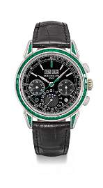 PATEK PHILIPPE, PLATINUM AND EMERALD-SET PERPETUAL