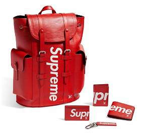 A RED EPI LEATHER CHRISTOPHER PM BACKPACK & A