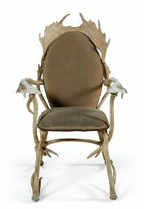A WHITE PAINTED METAL ANTLER-FORM ARMCHAIR
