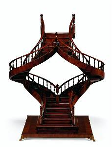A MAHOGANY DOUBLE STAIRCASE MAQUETTE
