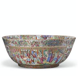 A MASSIVE 'CANTON FAMILLE ROSE' PUNCH BOWL