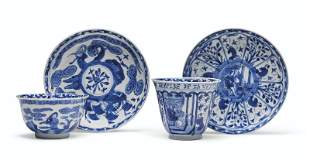 TWO RARE EARLY BLUE AND WHITE EUROPEAN SUBJECT TEABOWLS