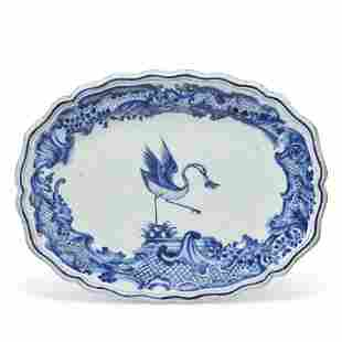A BLUE AND WHITE SWEDISH MARKET ARMORIAL PLATTER