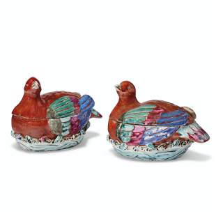 A PAIR OF FAMILLE ROSE NESTING BIRD BOXES AND COVERS