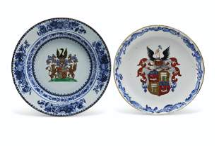 TWO DUTCH MARKET ARMORIAL DISHES