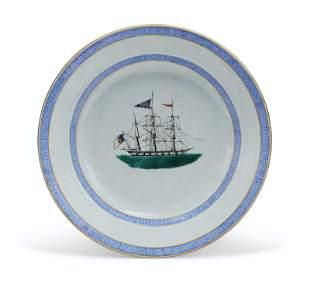 A RARE 'SHIP' PLATE FOR THE PORTUGUESE MARKET