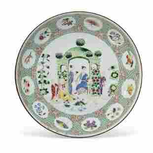A FAMILLE ROSE 'PRONK ARBOR' SAUCER DISH
