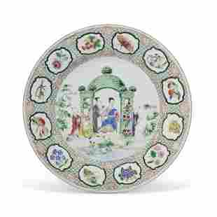 A FAMILLE ROSE 'PRONK ARBOR' PLATE