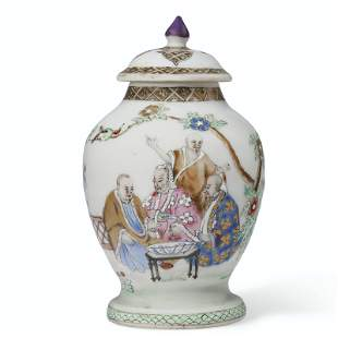 A RARE FAMILLE ROSE 'PRONK DOCTORS' TEA CADDY AND COVER