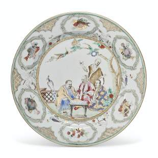 A FAMILLE ROSE 'PRONK DOCTORS' PLATE