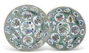 A LARGE PAIR OF FAMILLE VERTE DISHES