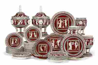 AN ITALIAN PEARLWARE IRON RED-GROUND PART DINNER
