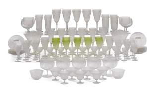 A CONTINENTAL CLEAR AND LIME-GREEN ENGRAVED AND