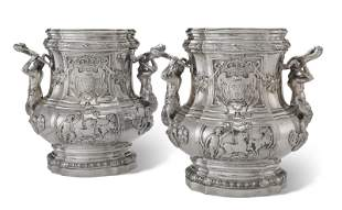 A PAIR OF GERMAN SILVER WINE COOLERS